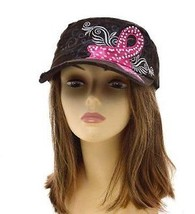 Dark Brown Breast Cancer Awareness Vintage Cadet Hat with Rhinestone - $25.20 CAD