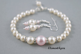 Bridesmaid jewelry set, Bracelets earrings pearls set, Bridal party gift - $28.95