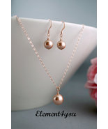 Rose gold jewelry set, Necklace with earrings, Swarovski rose gold pearl... - $36.00