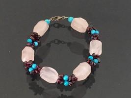 Vintage Sterling Silver Rose Quartz & Garnet & Turquoise Bracelet 8 1/2'... - $55.00