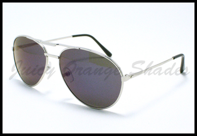 Unisex Aviator Sunglasses Classic Style Metal Frame SILVER Blue Mirror Lens