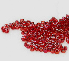 Miyuki Delicas 11/0, Lined Red AB 295, 50g glass beads cherry - $20.25
