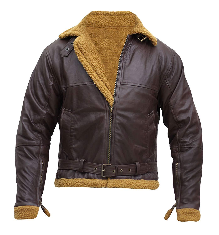 Men s b3 aviator sheepskin flight fur shearling brown bomber leather jacket