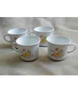 Set of 4 Vintage Corning Corelle  Coffee Mugs Cups in MEADOW pattern - $6.99