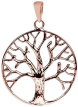 Circular Tree Of Life Rose Gold Over Sterling Silver Pendant - $84.64