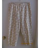LIZ CLAIBORNE BEIGE & WHITE FLORAL-SIZE 10 CAPRI'S -FRONT ZIPPER-CASUAL- - $9.79