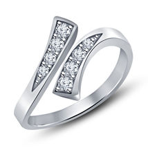 925 Sterling Silver White Gold Finish Round Cut White Simulated Diamond Toe Ring - $9.99