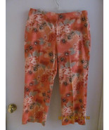 STYLE & CO. SIZE 10 STRETCHY CAPRIS-CORAL COLOR WITH FLOWERS-SIDE ZIPPER... - $10.00
