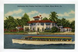 Sightseeing Boat Passing Fred Snite Jr's Home Miami Beach Florida - $1.99