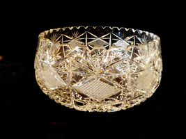 Contemporary Clear Cut Crystal bowl serving dish basket - $84.15