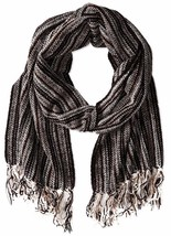Isotoner Women's Woven Stripe Rayon Chenille Scarf - Black - Free Shipping! - $22.49
