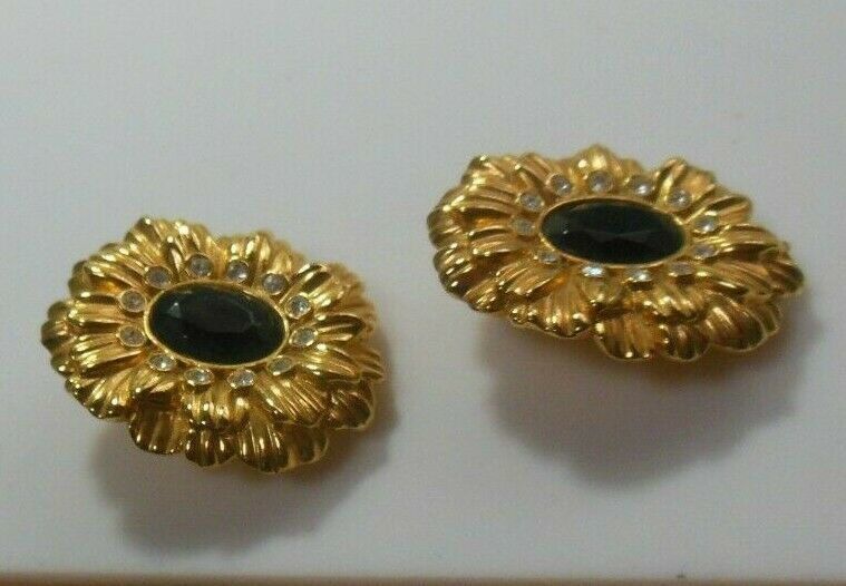 Vtg Signed KJL For Avon Clear Rhinestone & Black Stone Flower Clip On Earrings