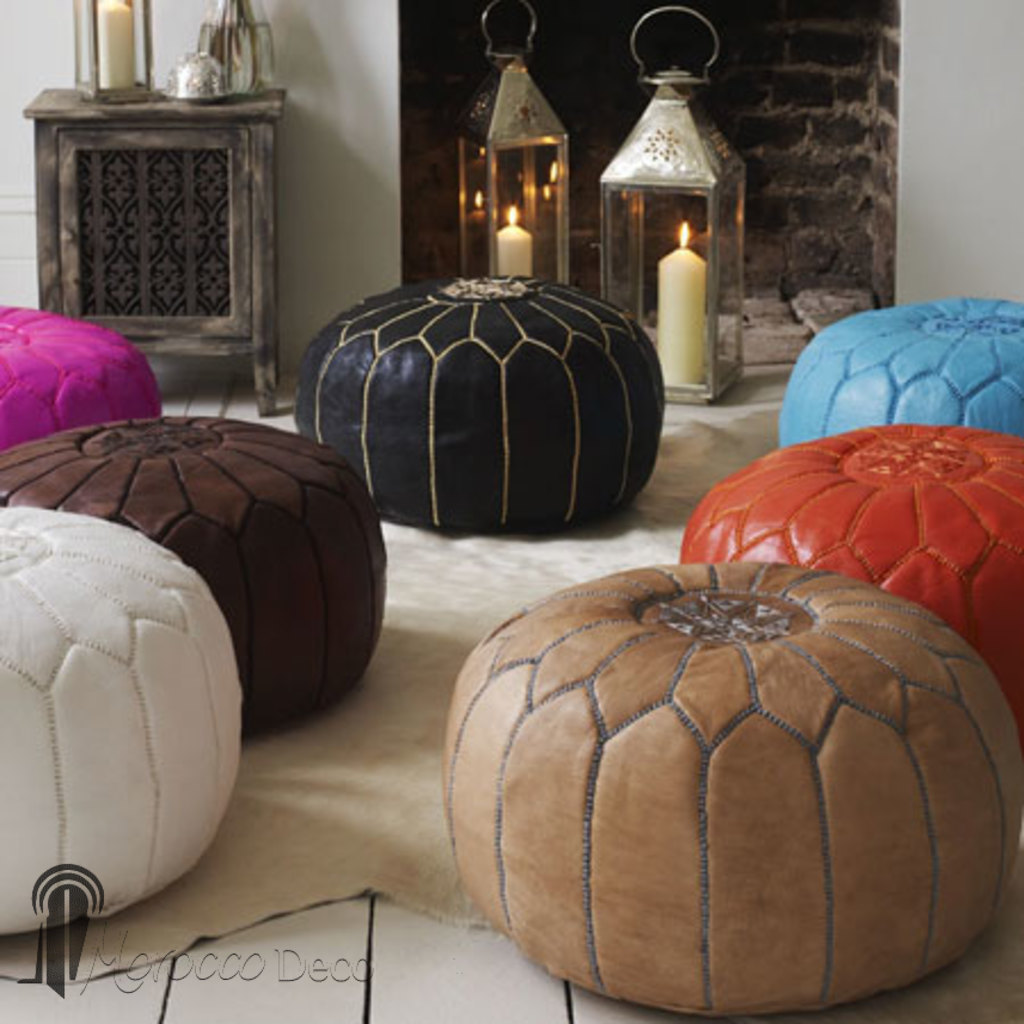moroccan pouf leather ottoman poof footstool burgundy. Black Bedroom Furniture Sets. Home Design Ideas