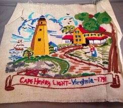 Cape Henry Lighthouse Hand Stitched Crewel Embroidered  Unframed Finishe... - $14.50