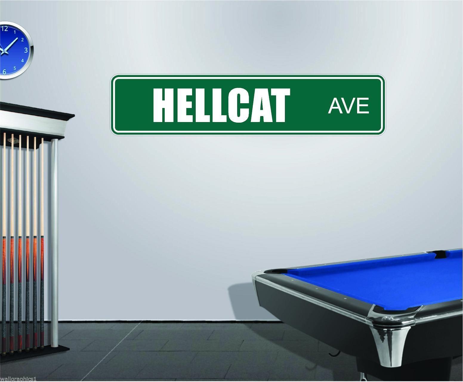 Garage Wall Decal Sticker Graphic HELLCAT Ave Street Sign Dodge Challenger MOPAR
