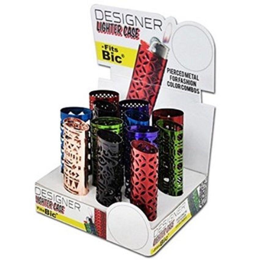 Designer Pierce Metal Lighter Case - One Case with Random Design and Color