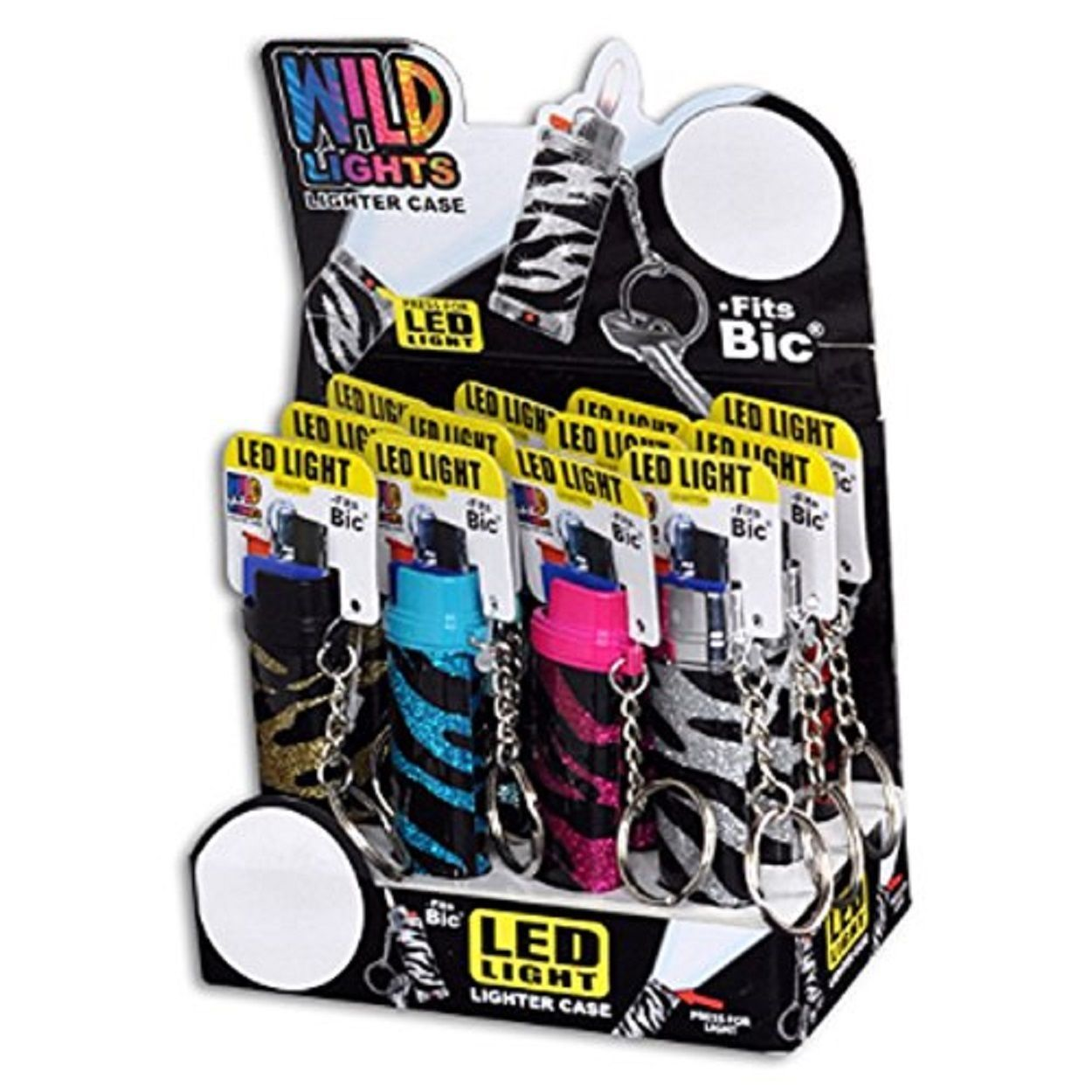 WILD LIGHTS LIGHTER CASE WITH LED - ONE CASE WITH RANDOM DESIGN AND COLOR
