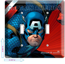Captain America Super Hero Double Light Switch Wall Plate Cover Boy Bedroom Room - $10.79