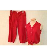 TOMMY BAHAMA Size 8 Silk Blouse Cotton Blend Cropped PANTS SET OUTFIT EUC - $14.43