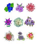 Mix Flower Set-Digital clipart-Halloween-Flower - $4.00