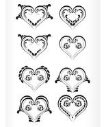Set of Beautiful Heart Shape Tattoo-Digital clipart-Halloween-Hearts - $4.00
