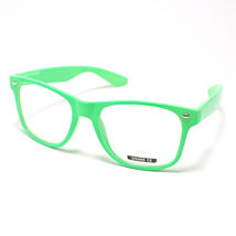 Vintage Retro Classic Clear Lens Eyeglasses Neon Green - $6.88