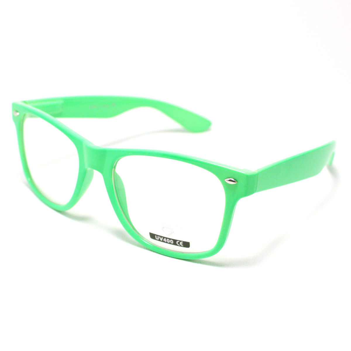 Bright Green Glasses Frames : VINTAGE Retro Classic CLEAR LENS Eyeglasses NEON GREEN ...