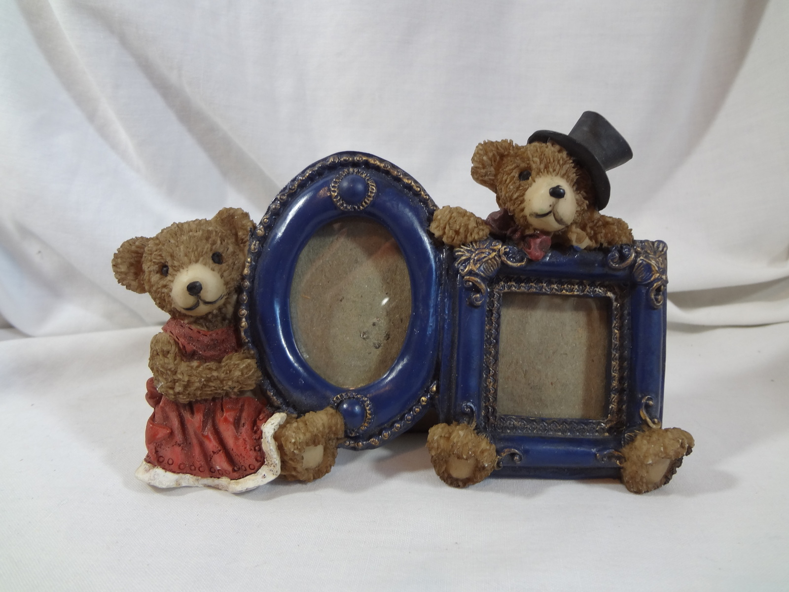 Primary image for Teddy Bear Picture Photograph Frame Double Victorian Style Resin Free Standing
