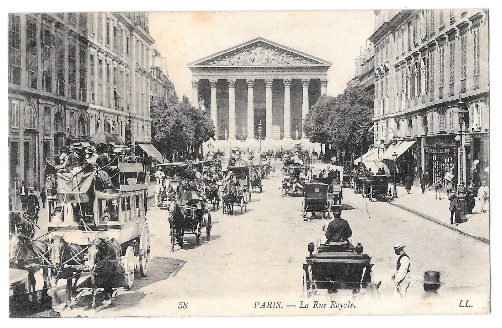Primary image for France Paris Rue Royale Horse Drawn Bus Carriages 1908 LL Lucien Levy Postcard