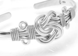 Artisan Crafted Sterling Sterling Knot Cuff Bracelet 7 inch Oxidized Finish - $59.00