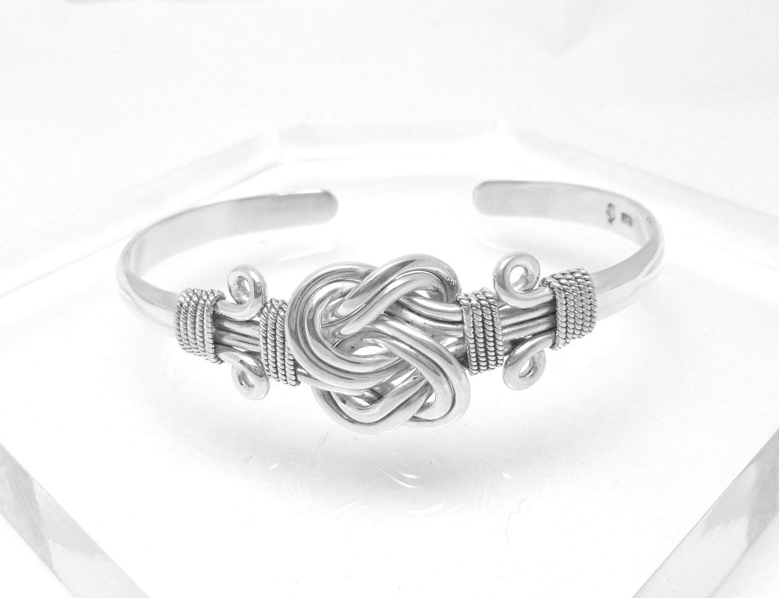 Artisan Crafted Sterling Sterling Knot Cuff Bracelet 7 inch Oxidized Finish