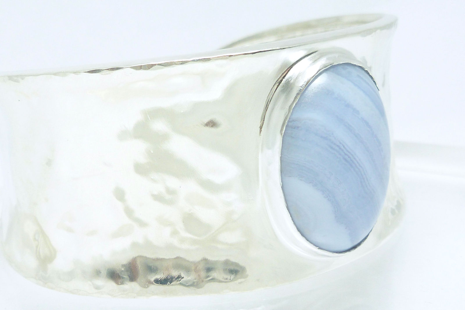Primary image for Artisan Crafted Hammered Sterling Blue Lace Agate Oval Gemstone Cuff Bracelet