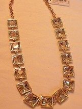 Alfani gold tone clear crystal square necklace  #385 - $15.80