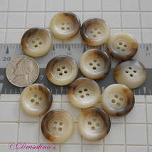 12 Buttons Beige Brown Marble 13/16 inch- 20.5 mm Acrylic Plastic 4 Hole... - $9.99