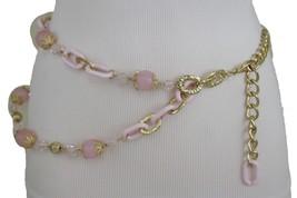 Women Hip Waist Gold Metal Chain Fashion Pink Link Belt Flower Bead Charm XS S M - $13.71