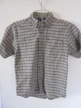 Boys Country Cross Plaid Beige Button Down Shirt Size M - $6.79