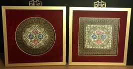 """Vintage 2 Belgium Tapestry gold Brocade Doilies square & round framed 9 ½"""" - $79.20"""