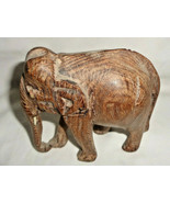"""Wooden Elephant Hand Carved Sculpture Figurine Collectible 4 1/2"""" Africa... - $8.54"""