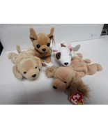 TY Beanie Baby Dog Pack Butch Fetch Tiny and Spunky 1978-1998 Lot of 4 - $9.90
