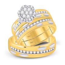 14k Yellow Gold His & Her Round Diamond Cluster Matching Bridal Wedding Ring Set - $1,749.00