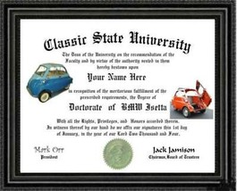 BMW Isetta Lover's Doctorate Diploma / Degree Custom made & Designed for... - $9.70