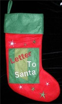 CHRISTMAS STOCKING LETTER TO SANTA  STARS RED GREEN CLAUS WHITE * NEW * - $11.64