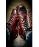 Handmade Men Round toe lace up boots, Men brown ankle high boots, Men an... - $179.99