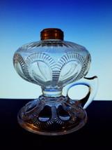 """Imperial ZIPPER LOOP Hand Oil Lamp EAPG 5 1/8"""" Clear Brass Collar Very N... - $34.95"""