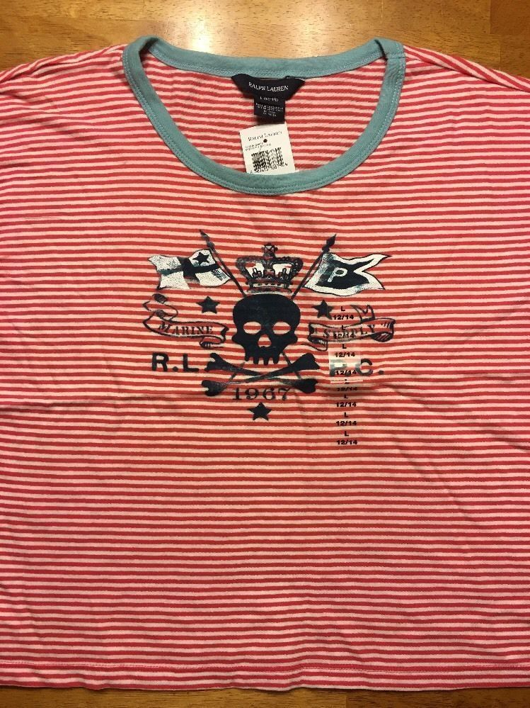 NWT Ralph Lauren Girl's Red Striped Blue Trim Pirate Shirt Size Large 12/14 image 2