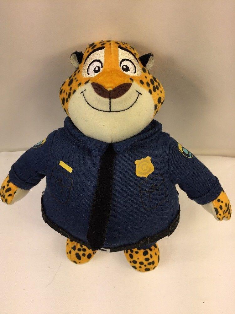 "Disney Zootopia Clawhauser the Policeman Tiger Plush Doll Tomy 10"""