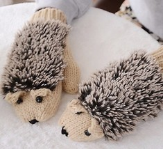 womens wool Beige Hedgehog Mittens - $32.68