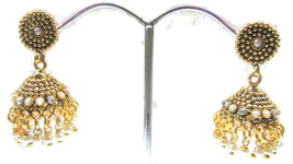 Indian Bollywood Fashion Earrings Jewelry Copper Jumki Style Gold Earrin... - $13.43