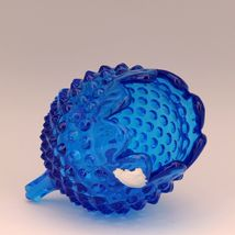 Vintage Fenton Art Glass Colonial Blue Hobnail 3 Foot Egg Shape Vase image 3