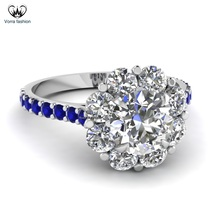 Halo Round Cut CZ White Gold Plated 925 Sterling Silver Engagement Weddi... - ₹6,183.17 INR